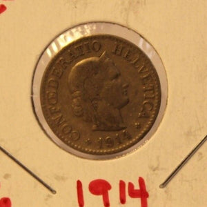 1914 Switzerland 10 Rappen Coin with Holder thecoindigger World Coin Estates
