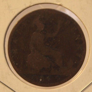 1863 United Kingdom Penny w/ Small 3 Coin and Holder Thecoindigger World Estates