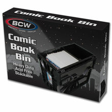 Load image into Gallery viewer, Black Plastic Short Comic Book Bin BCW Locking Storage Box Heavy Duty Holds 150+