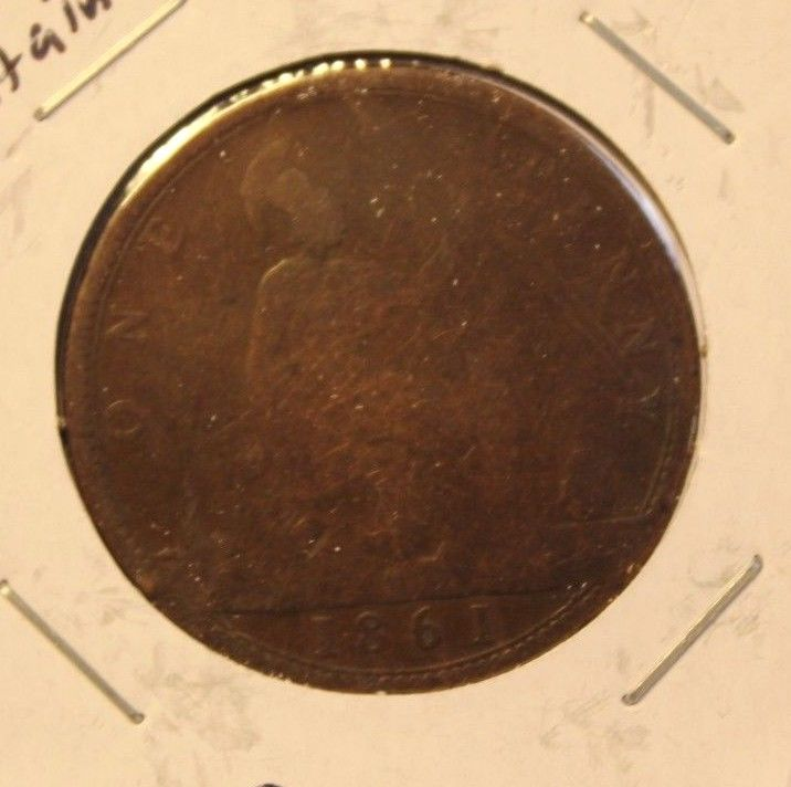1861 Great Britain Penny Coin with Holder  thecoindigger World Coin Estates