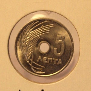 1954 Greece 5 Lepta Coin with Holder thecoindigger World Estates