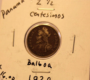 1929 Panama 2 1/2 Centesimos Balboa Coin with Holder thecoindigger World Estate