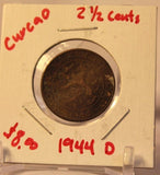 1944 Curacao 21/2 Cent Coin with Holder Thecoindigger World Coins Estate
