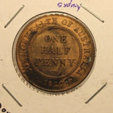1920 Australia 1/2 Penny Coin with Holder thecoindigger World Coin Estates