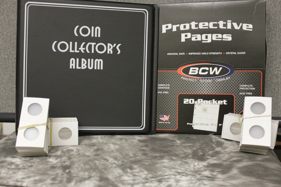 Deluxe Quarter Coin Holder Collector Kit Binder Album Page 200 Paper Flip Case