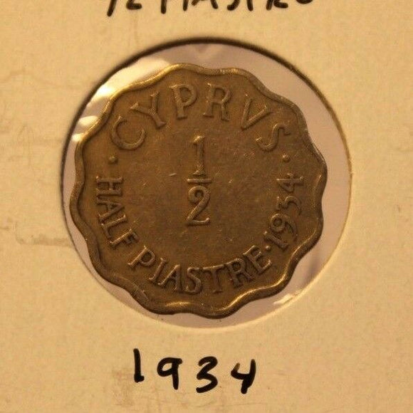 1934 Cyprus 1/2 Piastre  Coin with Display Holder Thecoindigger KEY DATE