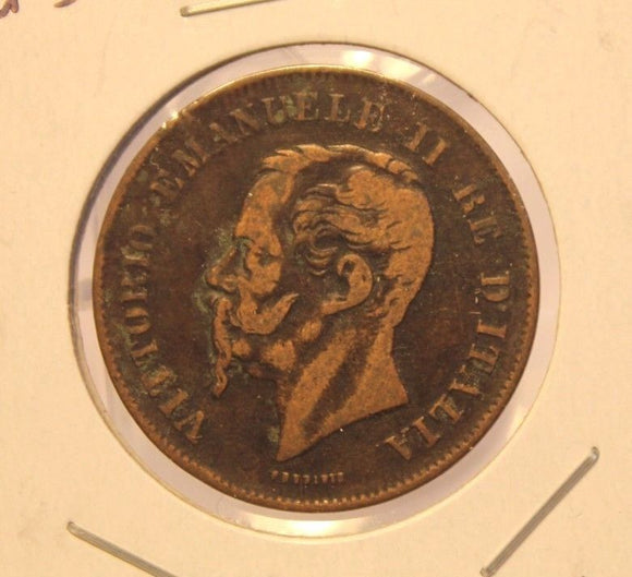 1862 N Italy 5 Centesimi Coin with Display Holder thecoindigger World Estates