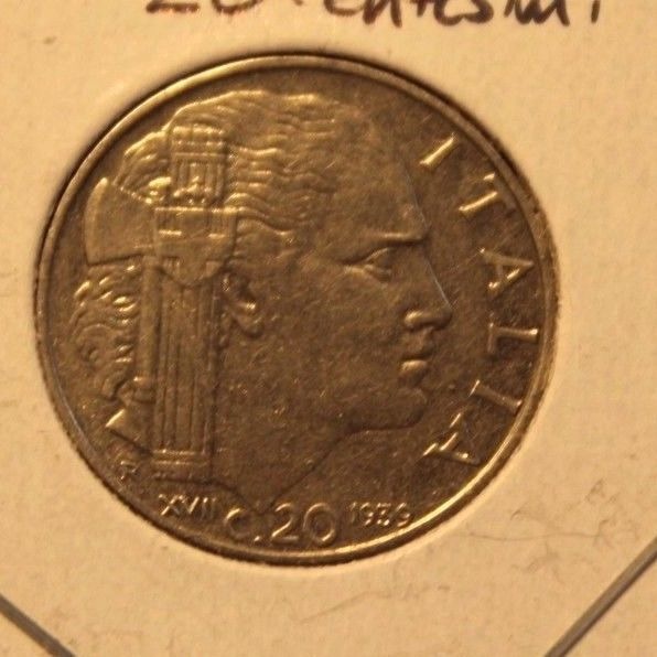 1939 R Italy 20 Centesimo  Coin with Holder thecoindigger World Estates