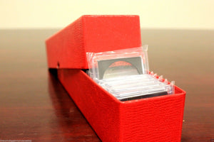 10 Storage Box Coin Holder 9x2x2 Boxes SINGLE ROW 2x2 Flip Snap Mount Case RED