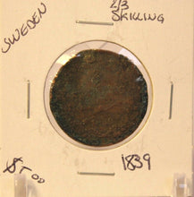 Load image into Gallery viewer, 1839 Sweden 2/3 Skilling Coin with Holder thecoindigger World Coin Estates