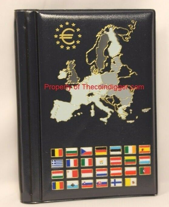 EURO Coin Wallet Album Holds 12 European Mint Sets Pages Euro Collection Book