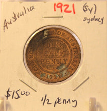 Load image into Gallery viewer, 1921S Australia 1/2 Penny Coin with Holder thecoindigger World Coin Estates
