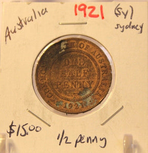 1921S Australia 1/2 Penny Coin with Holder thecoindigger World Coin Estates