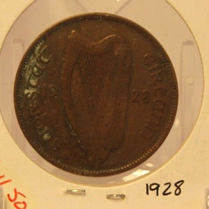 1928 Ireland Bronze Pingin Coin with Holder thecoindigger World Estates
