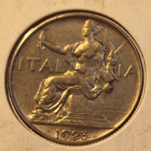 1923 R Italy 1 Lira Coin with Holder Display Display thecoindigger World Estates