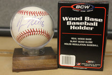 Load image into Gallery viewer, MLB Baseball Holder Wood Base Display Autograph Storage Case Team Plaque 3x3