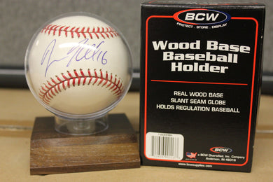 MLB Baseball Holder Wood Base Display Autograph Storage Case Team Plaque 3x3