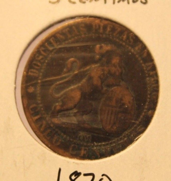 1870 Spain 5 Centimos Copper Coin with Holder thecoindigger World Estate