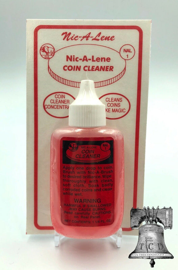 Nic A Lene Coin Cleaner for US Penny Cent Nickel Magic Clean Acid Bottle 1.25oz