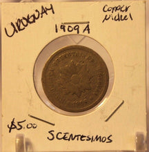 Load image into Gallery viewer, 1909 A Uruguay 5 Centismos Coin with Display Holder Thecoindigger World Estates