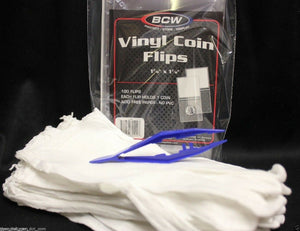 100 BCW Vinyl Flips 12 Pair LARGE Cotton Inspection Gloves Coin Stamp + TWEEZERS