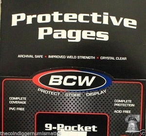 BCW Coupon Sleeves Holder for Binders Trading Cards 10 Ultra Storage PRO Pages