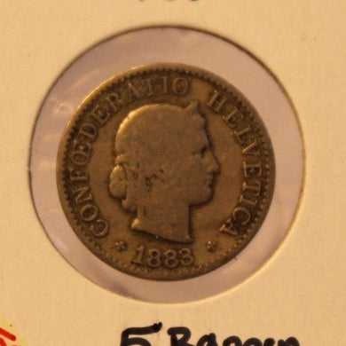 1883 Switzerland 5 Rappen Coin with Holder thecoindigger World Coin Estates