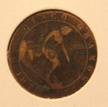 Load image into Gallery viewer, 1870 Spain 5 Centimos Copper Coin with Holder thecoindigger World Estate