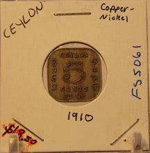 Load image into Gallery viewer, 1910 Ceylon 5 Cent Coin with Display Holder Thecoindigger World Estates