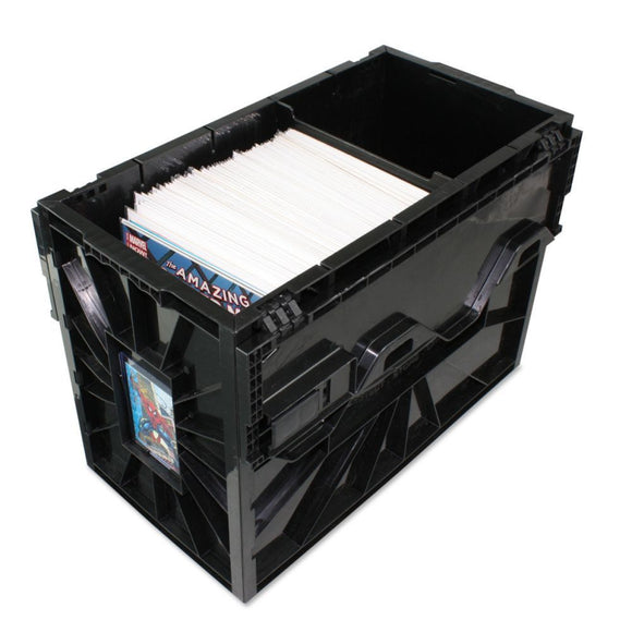 Black Plastic Short Comic Book Bin BCW Locking Storage Box Heavy Duty Holds 150+