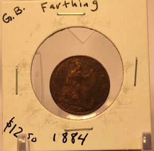1886 United Kingdom Farthing Coin and Display Holder Thecoindigger World Estates
