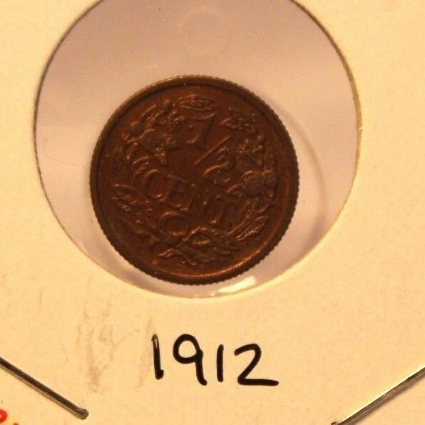1912 Netherlands 1/2 Cent Coin with Display Holder thecoindigger World Estate