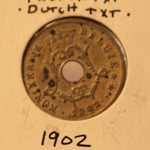 1902 Belgian 10 Centimes with Holder Thecoindigger World Coins Estate