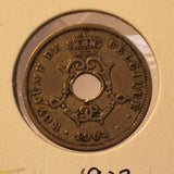 1902 Belgium 10 Centimes Copper Coin with Holder Thecoindigger World Estates