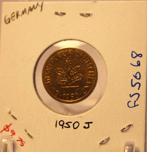 1950 J German 5 pfennig Coin with Holder thecoindigger World Coin Estate