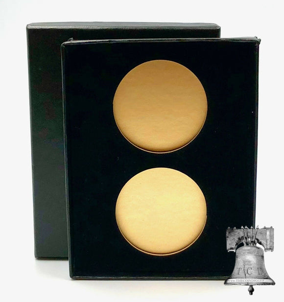 Air-tite Coin Holder Black Velvet Box Display Gold Insert Model H Storage Case