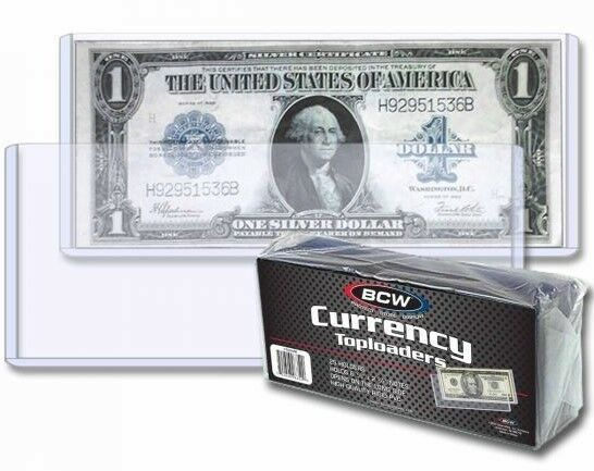 100 Rigid CURRENCY Topload Holder Regular Bill Bank Note Display BCW Thick Case