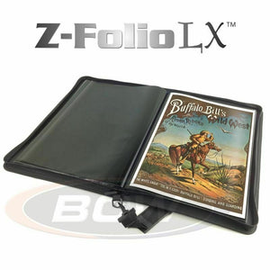 BCW Z-Folio LX Band Print Music Poster 11x17 Portfolio Album Black Leather Zip