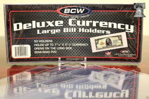 10 LARGE BCW DELUXE CURRENCY Sleeve Dollar Bill Banknote Holder Semi Rigid Case