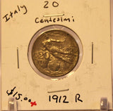 1912 R Italy 20 Centesimi Coin with Display Holder thecoindigger World Estate