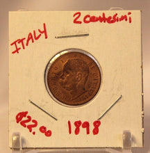 Load image into Gallery viewer, 1898 Italy 2 Centesimi Coin with Holder thecoindigger World Estate