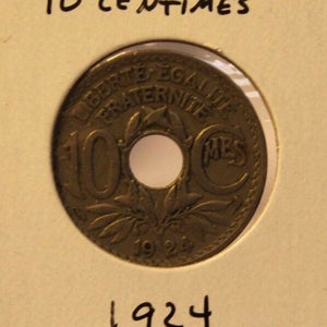 1924 France 10 Centimes Coin and Display Holder Thecoindigger World Estates