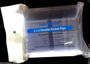 100 Double Pocket 2x2 Coin Flip Holder Vinyl 7mil Thick Guardhouse Storage Flips