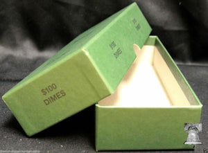 Dime Coin Roll GREEN Storage Box - MMF Holds up to 20 Rolls Wrappers DIMES