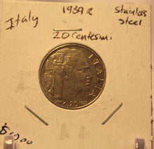 Load image into Gallery viewer, 1939 R Italy 20 Centesimo  Coin with Holder thecoindigger World Estates