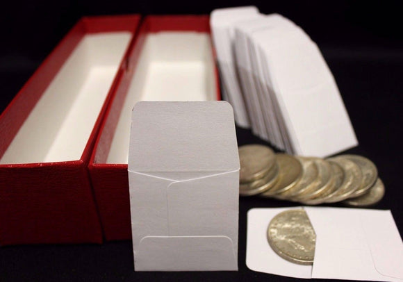 100 2x2 Paper Coin Holder Envelopes & Red Storage Box