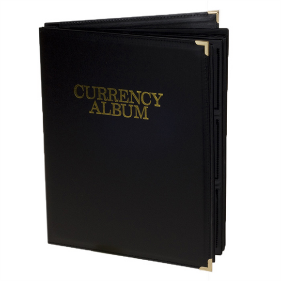 Deluxe Currency Album Small Banknote Binder 4 Pocket Page Holder Storage Case