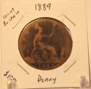 1889 Great Britain Penny Coin with Holder  thecoindigger World Coin Estates