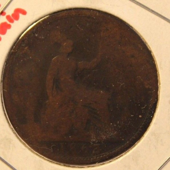 1863 United Kingdom Great Britain Penny Coin and Display Holder Thecoindigger