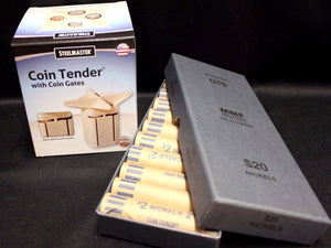 Coin Tender Change Sorter Counter MMF + 20 NICKEL Bank Wrappers Storage Box